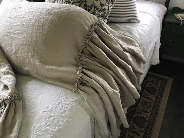 Pair of Bed Pillow Shams in Washed Linen Featuring Long Mermaid Style Ruffle