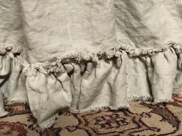 Torn Ruffle Shabby Washed Linen King Bed Skirt Panel Separates and Bolster Sham Set-Pebble Washed Linen