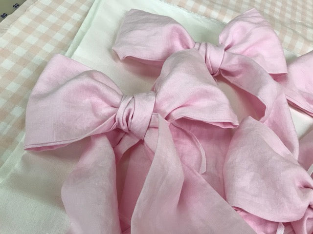 Storybook Crib Skirt in Vintage White Washed Linen-Set of 3 Crib Bows in Pink