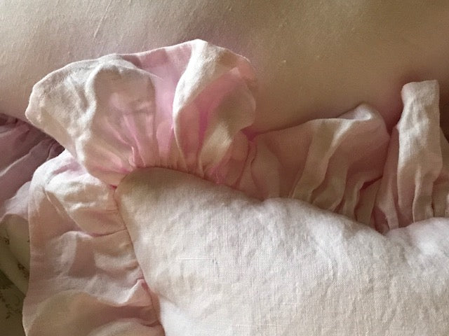 Pair of Ruffled Crib Pillows in Petal Pink Washed Linen-Removable Pillow Insert Included