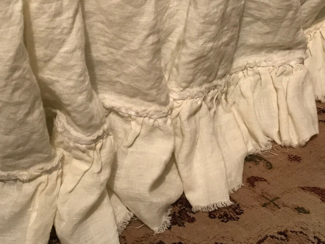 Shabby Bed Skirt-Queen-Torn Ruffle with Velvet Ribbon-Cream Washed Linen