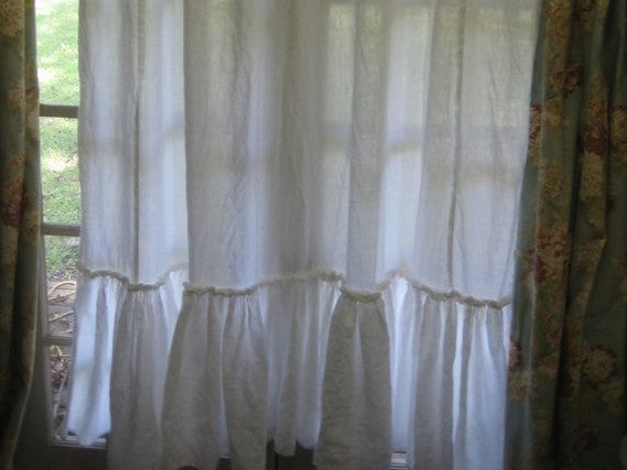 Shower Curtain-Artisan Styled with Ruffles in Bright White Washed Linen