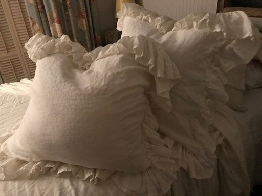 Pair of Vintage White Washed Linen Euro Shams with Long Hemmed Ruffle