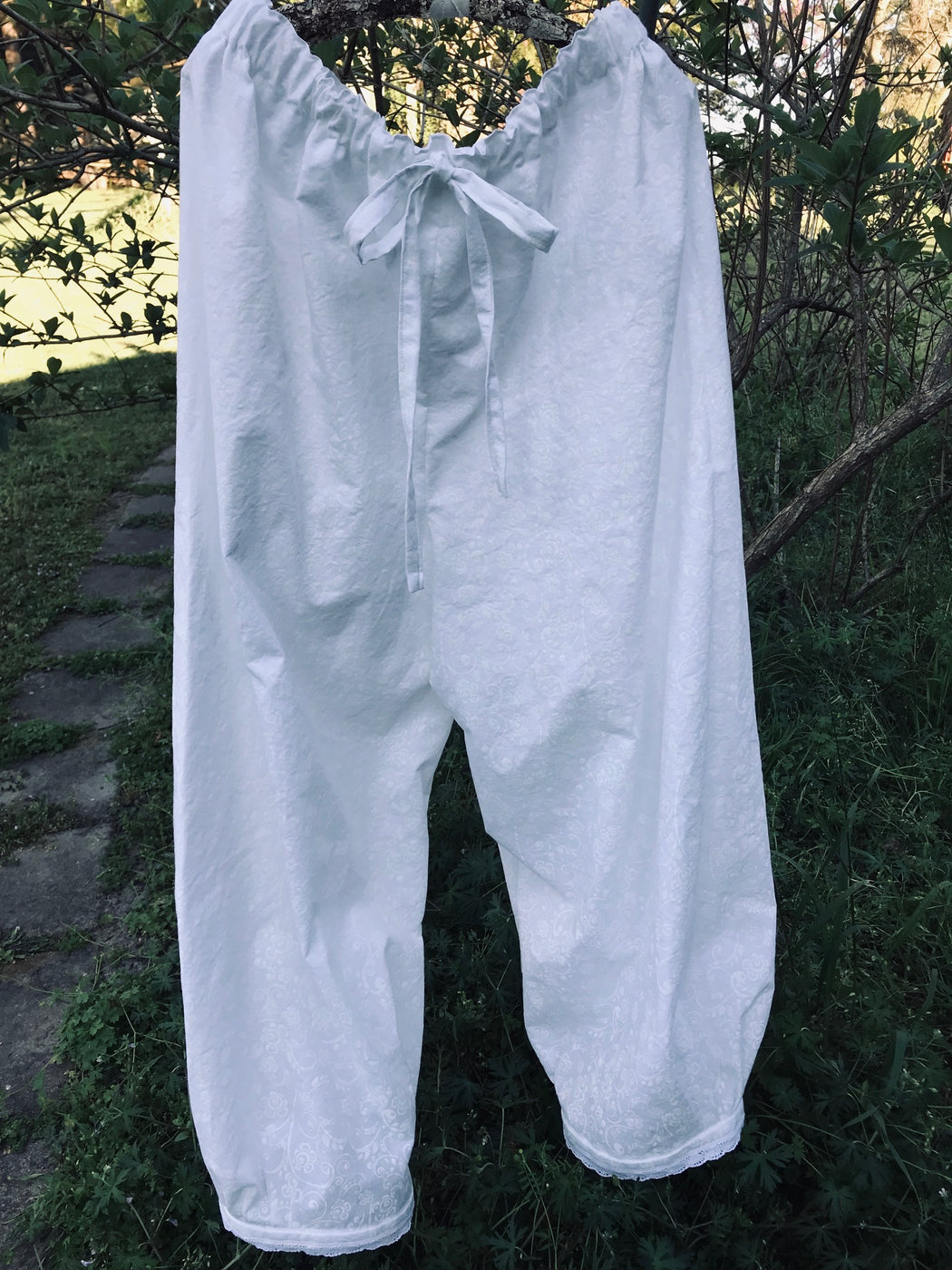 Ladies Cropped White Washed Cotton Summer Pants-Summer Bloomers-XL