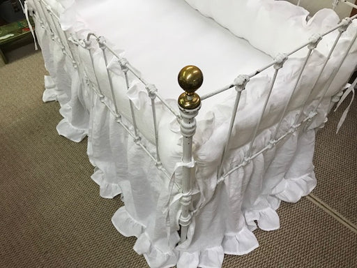 Baby Bedding in White Washed Linen-Ruffled Bumpers-Ruffled Crib Skirt-Cottage Crib Bedding