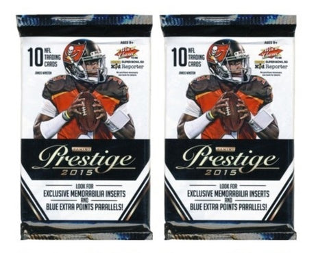 2 PACKS-2015 Prestige Football Cards Unopened Sealed Pack-2 PACKS