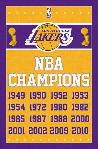 Los Angeles Lakers - Champions Dates Wall Poster