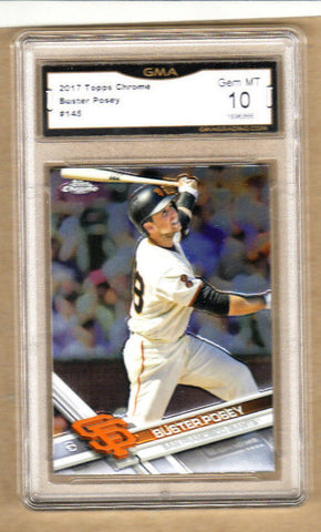 Buster Posey - 2017 Topps Chrome Baseball Card-Graded-#145-Giants-10/10 Gem Mint