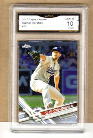 Clayton Kershaw - 2017 Topps Chrome Card-GRADED-#25-Dodgers-10 Gem Mint