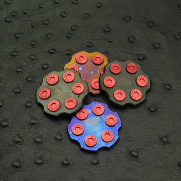 XMAS Revolver Ball Marker - Titanium with Red Anodized Inlays