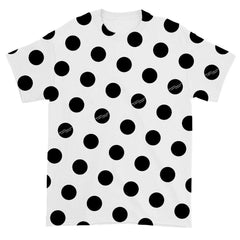 BLACK POLKA DOT WHITE T-SHIRT