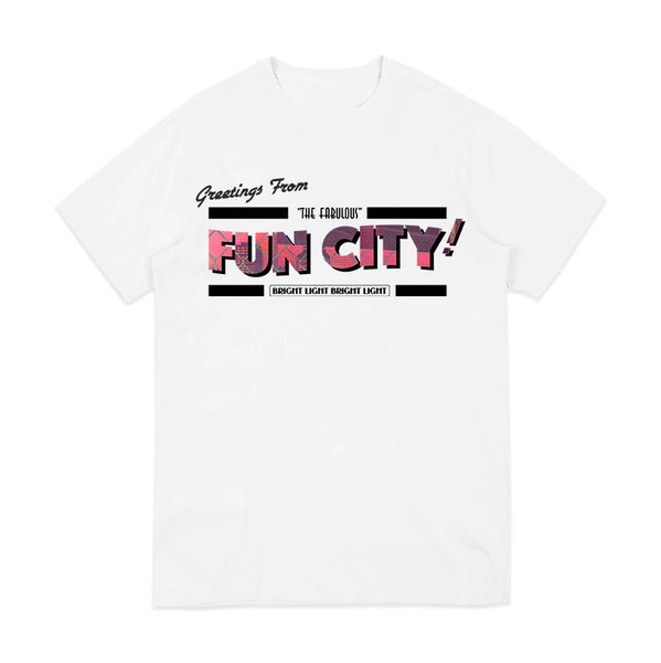 GREETINGS FROM FUN CITY WHITE T-SHIRT