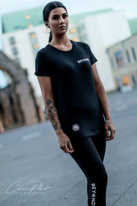 Women's Black Double Front Logo T-Shirt - beyond-lifestyle