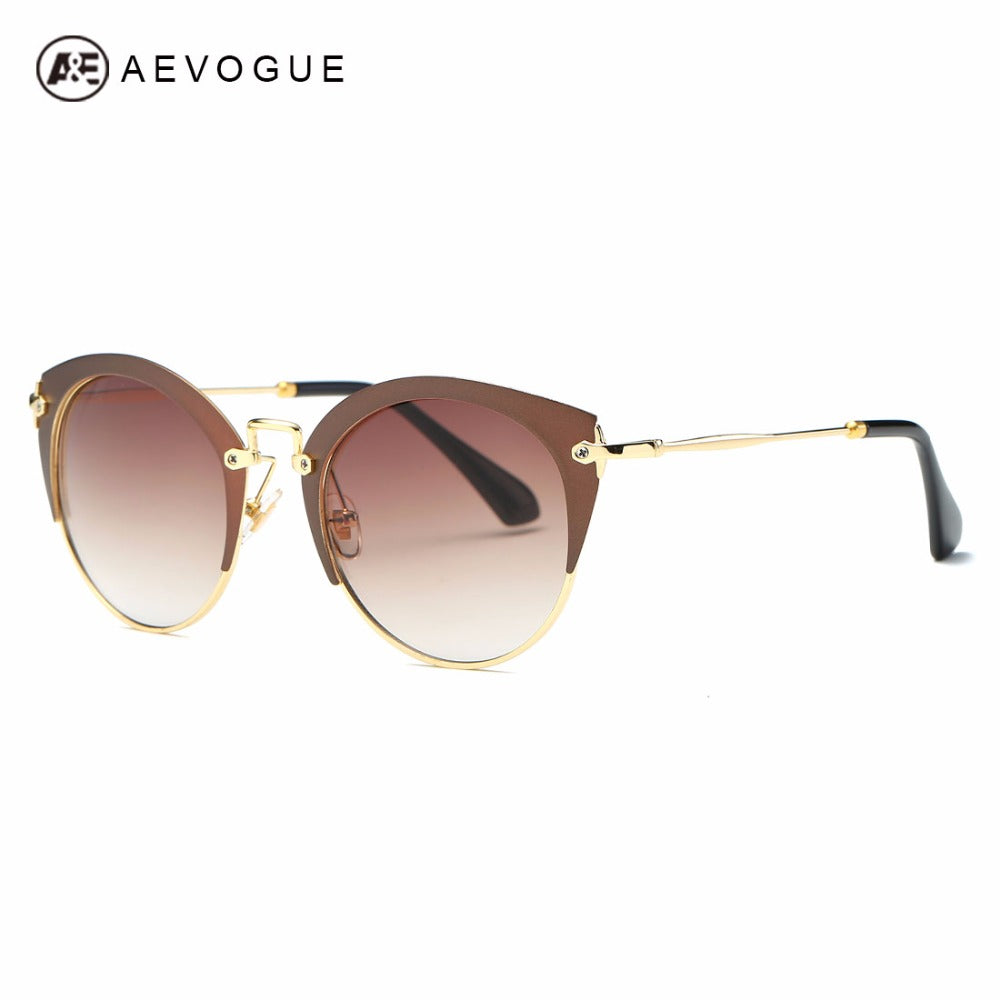 ca2591f638efc Sunglasses Womens Semi-Rimless Oversize Vintage Metal Temple Brand Designer  Sun Glasses With Box AE0507