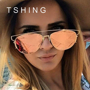 Superstar Fashion Women Flat Top Sunglasses Woman Brand Designer Oversized Mirror Sun Glasses Ladies Celebrity Sunglasses UV400