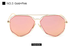 Women Aviation Sunglasses Fashion Brand Designer Twin-Beam Mirror Shades Pilot Sunglasses UV400