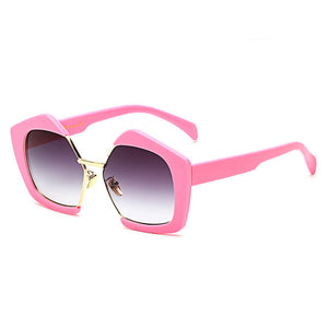 Fashion Luxury Brand Oversized Pentagon Sunglasses Female Vintage Personality Half Frame Sun Glasses For Women SS081