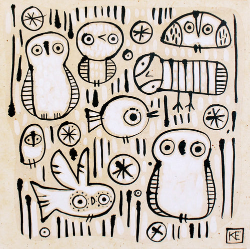 Kate Endle owl original art