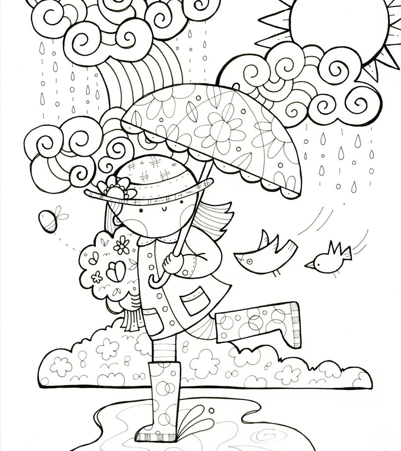 Kate Endle line illustration of girl with umbrella