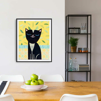 Black Cat Sitting Pretty Print