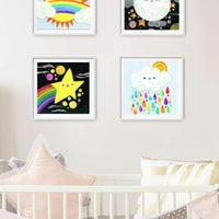 Moon and the Rainbow Stars Print