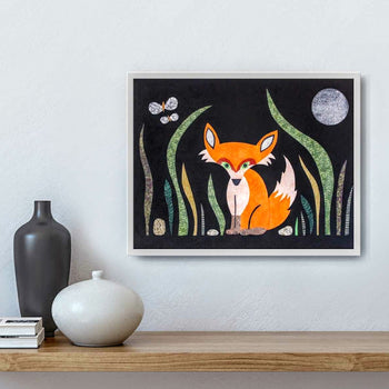 Foxy Midnight with Moth and Moon Print