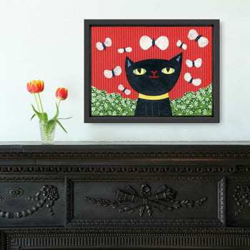 Black Cat Ready to Pounce Print