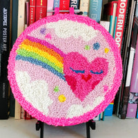 "Rainbow Heart Punch Needle 6"" Round"