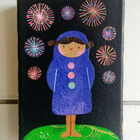 "Girl With Fireworks 4x6"" Original Collage"