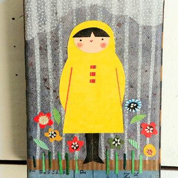 "Girl In Rain and Flowers 4x6"" Original Collage"