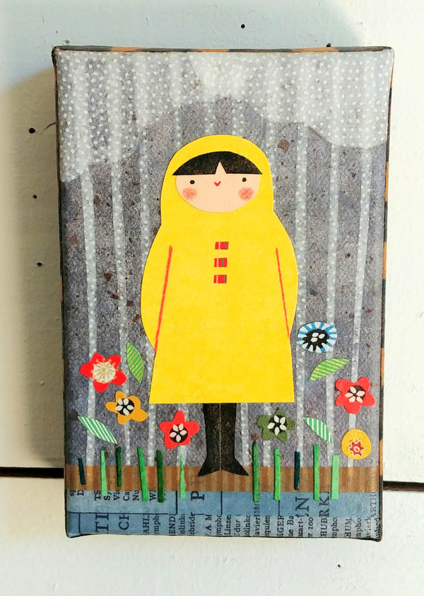 "In Rain and Flowers 4x6"" Original Collage"