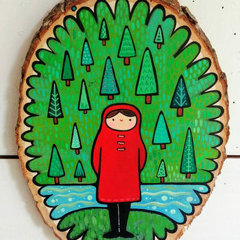 "Girl In Pines Painted Birch Panel 10"" Round"