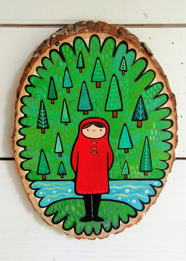 "Girl In Pines Painted Birch Round 10"" Oval"