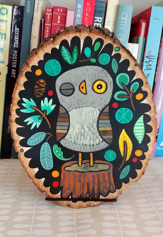 "Owlet On a Stump Painted Birch Panel 10"" Oval"