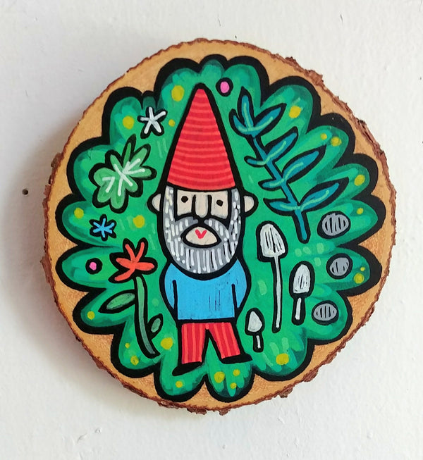 "The Gnome Knows Painted Birch Panel 5"" Round"