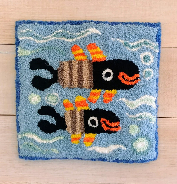 "Swimming Smiling Fish 10x10"" Punch Needle"