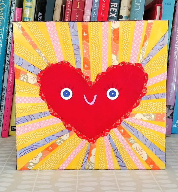 "Happy Heart 8x8"" Original Collage"