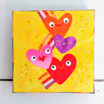 "Rainbow Soaring Hearts 6x6"" Original Collage"