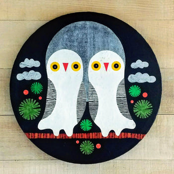 "Twin Midnight Hoos 16"" Round Original Collage"