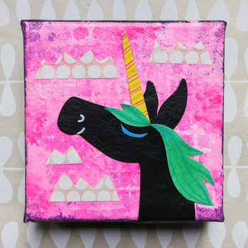 "Unicorn Magic 4x4"" Original Collage"
