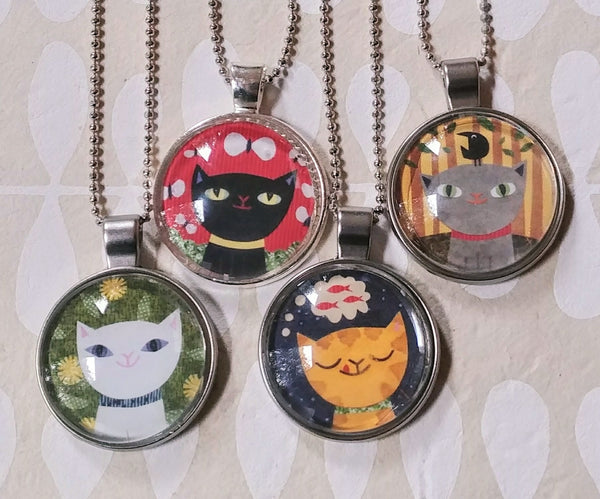 Cat Art Drop Necklaces