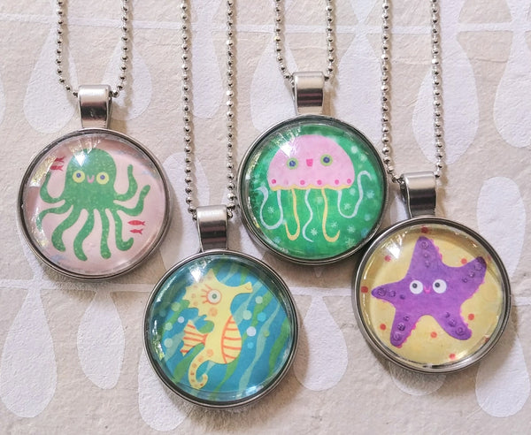 Sea Life Art Drop Necklaces