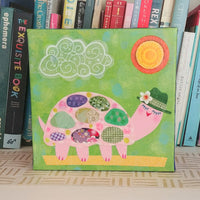 "Fancy Turtle Out For A Walk 8x8"" Original Collage"