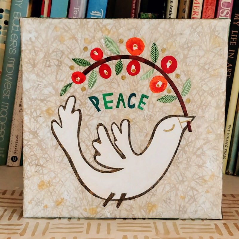 Peace Bird Original Collage 8x8""