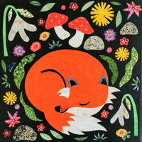 "Fox In the Spring 8x8"" Original Collage"
