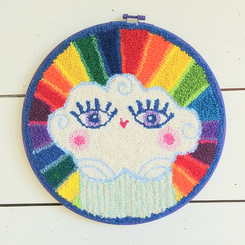 "Bursty Rainbow Cloud Punch Needle 12"" Round"