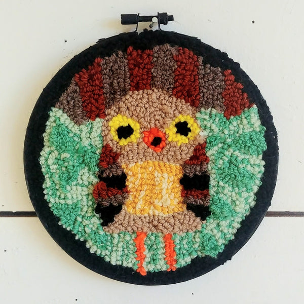 "Hooting Owlet Punch Needle 6"" Round"