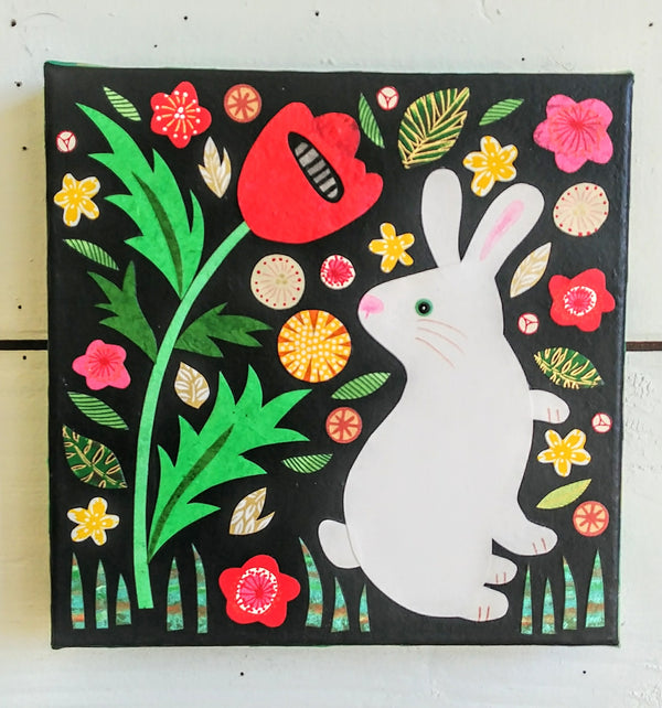 "Rabbit and Poppy 8x8"" Original Collage"