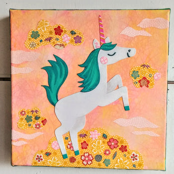 "Springtime Unicorns 8x8"" Original Collages"