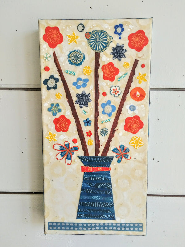 "Orangina and Blue Blooms For You 6x12"" Original Collage"